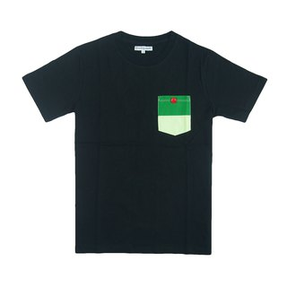 Dosquare - Cotton Black T-shirt with Green pocket