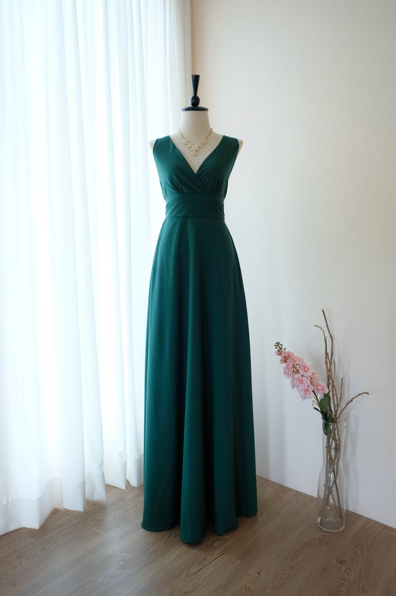 Forest Green dress Maxi bridesmaid dress cocktail prom party vintage dress