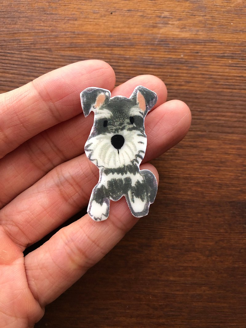 Schnauzer dog brooch handmade illustration jewelry pin badge