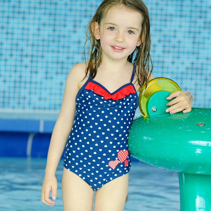 Germany PlayShoes anti-UV sunscreen children's one-piece swimsuit - love ruffle