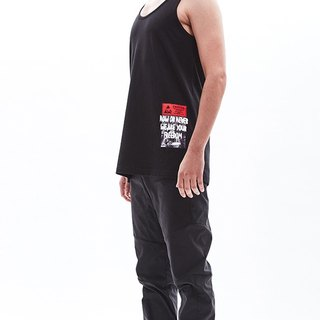 """NOW OR NEVER"" print black cotton tank top"