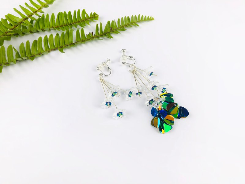 Plant sequins embroidered buds sterling silver earrings ear clips