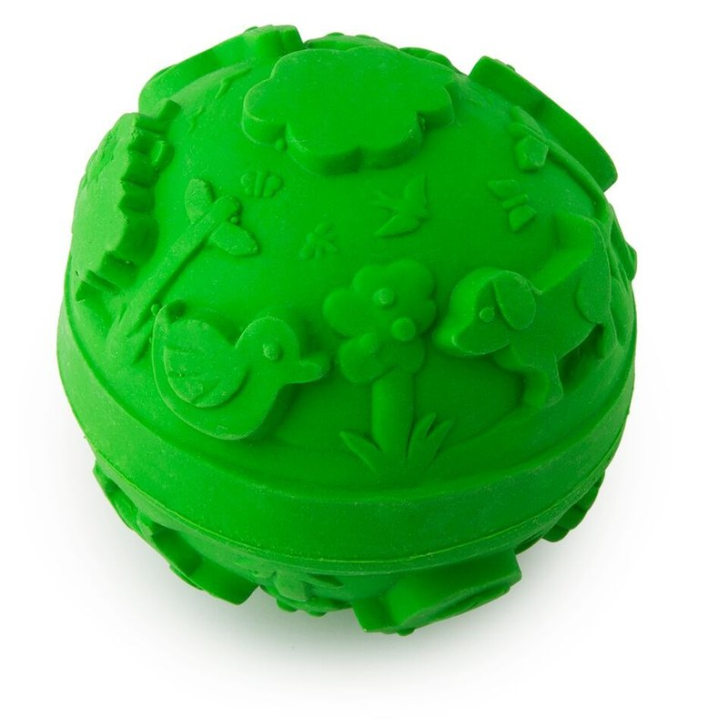 Spain Oli & Carol | Colorful Tactile Ball - Green | Natural Non-toxic Rubber Gear / Bath Toys / Green Toys