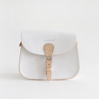 White Blanc manual vegetable tanned handbags shoulder saddle bag female small fresh oblique cross retro