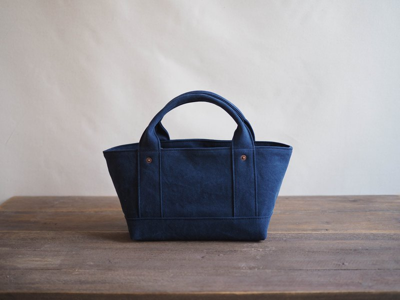 Tote with lid only T S navy blue
