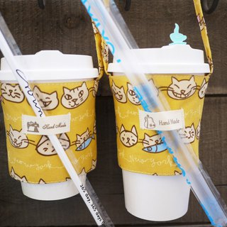 Beverage bag ~ cats who love fish ~ macarons yellow ~
