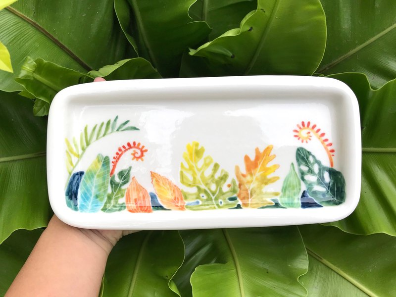 Hand pinch square plate fern underglaze color hand-painted plate