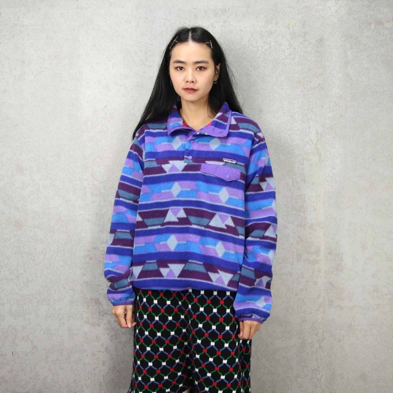 Tsubasa.Y Antique House P05Patagonia Geometric Blue Purple Fleece, Warm Top