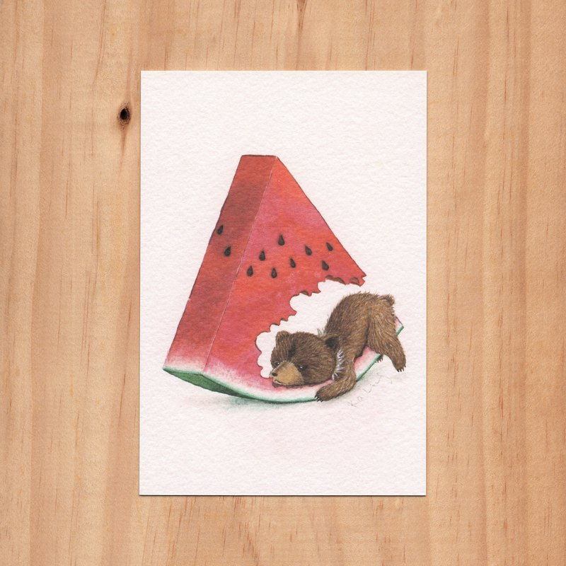"""My hairy friend - summer of the bear"" watercolor illustration postcard"