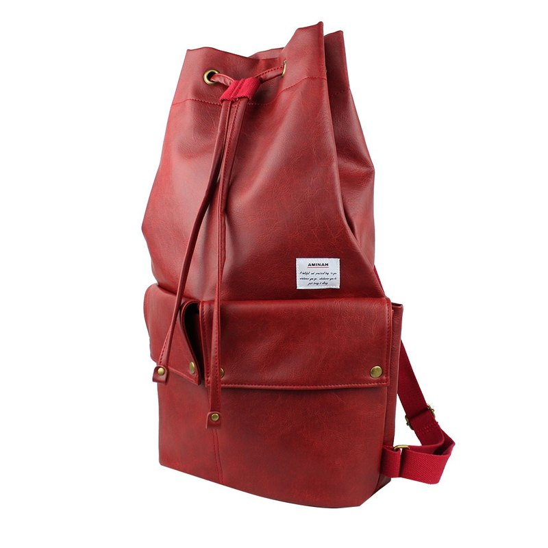 AMINAH-red bunch mouth backpack [am-0293]
