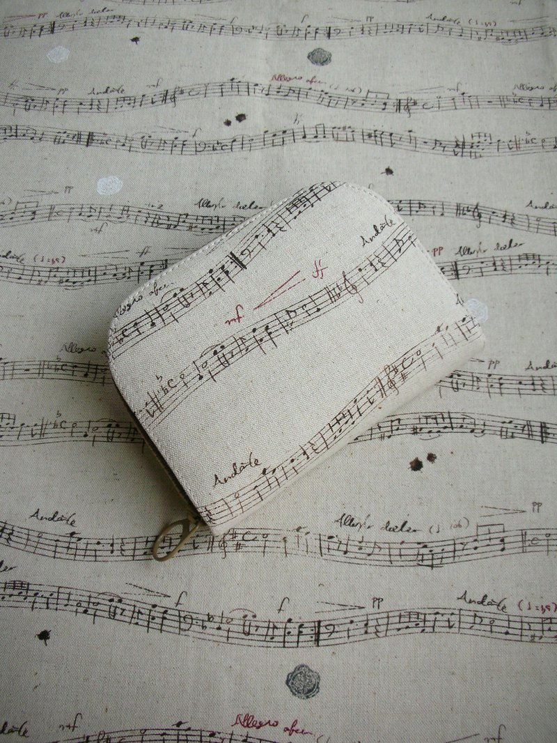 "Music scores cotton ""blue word spectrum / cocoa word spectrum"" - short clip / wallet / coin purse / gift"