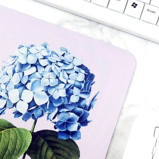 Blue Hydrangea Mouse Pad Botanical Art Desk Decor For Women