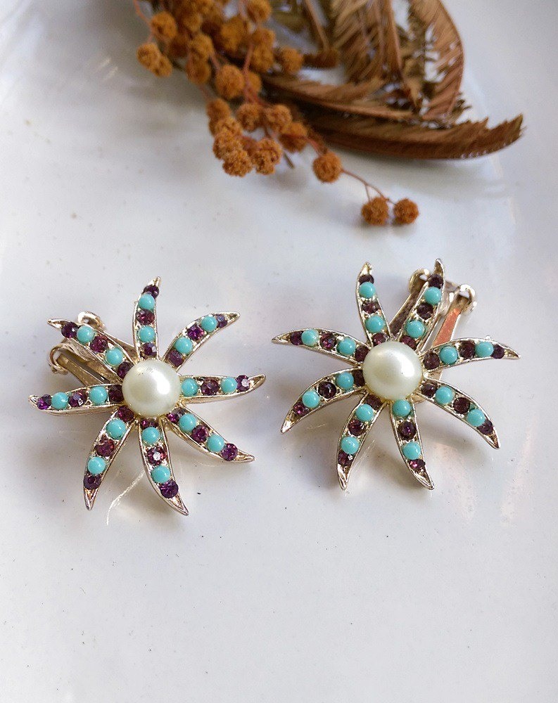 [Western antique jewelry / old age] 1970s starfish clip earrings