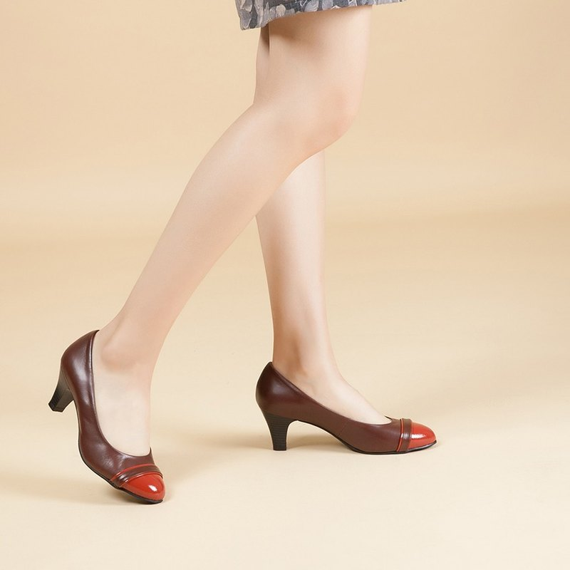 [French Waltz] Elegant Contrast Leather Heel Shoes - Red Wine Whisky
