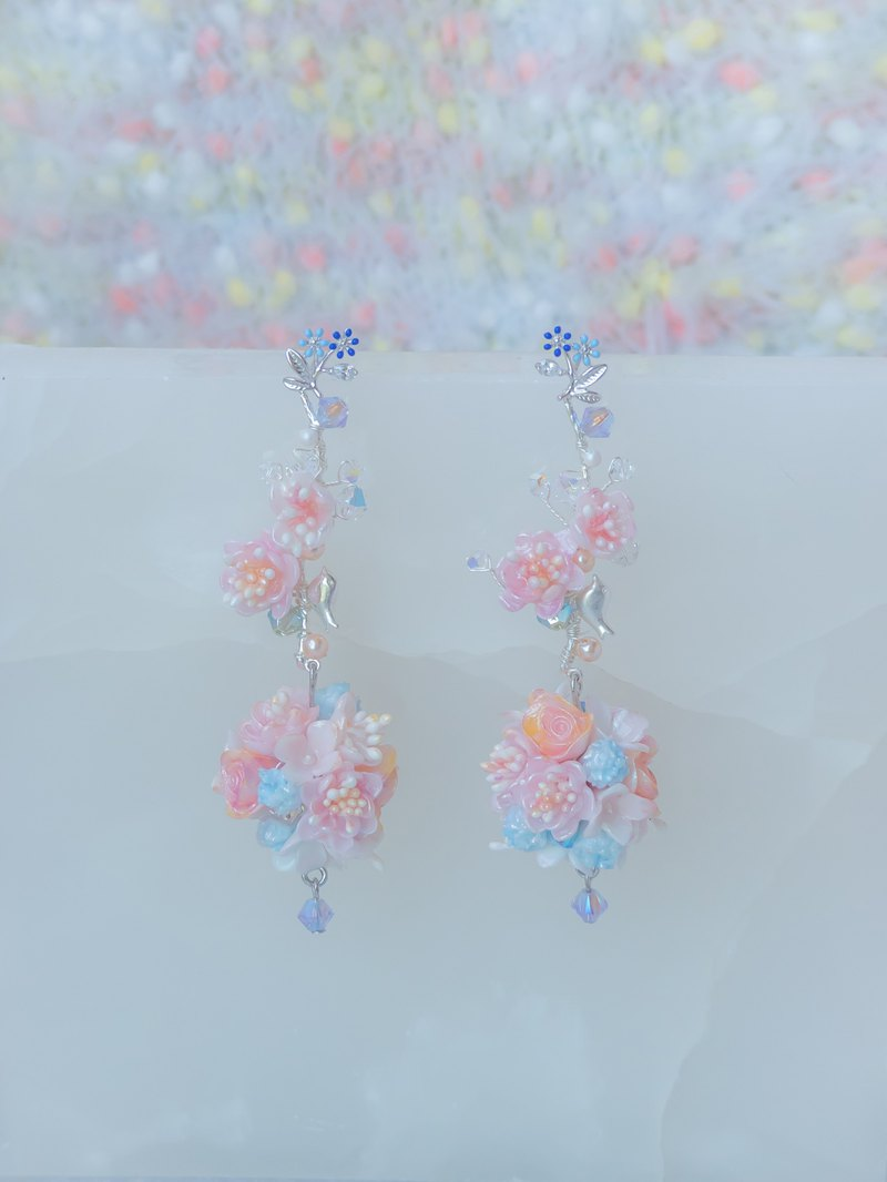 #9 ZODIAC Libra Plum Blossom 925 Silver Bouquet Earrings