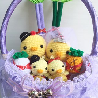 Chuchu hand made cute Q version lead chicken white yarn crown (purple basket)