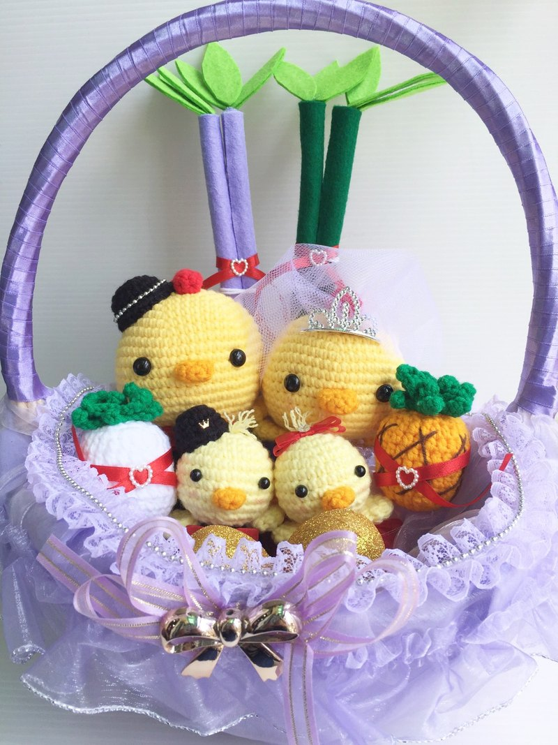 Chuchu handmade cute Q version of the road chicken white gauze crown (purple basket)