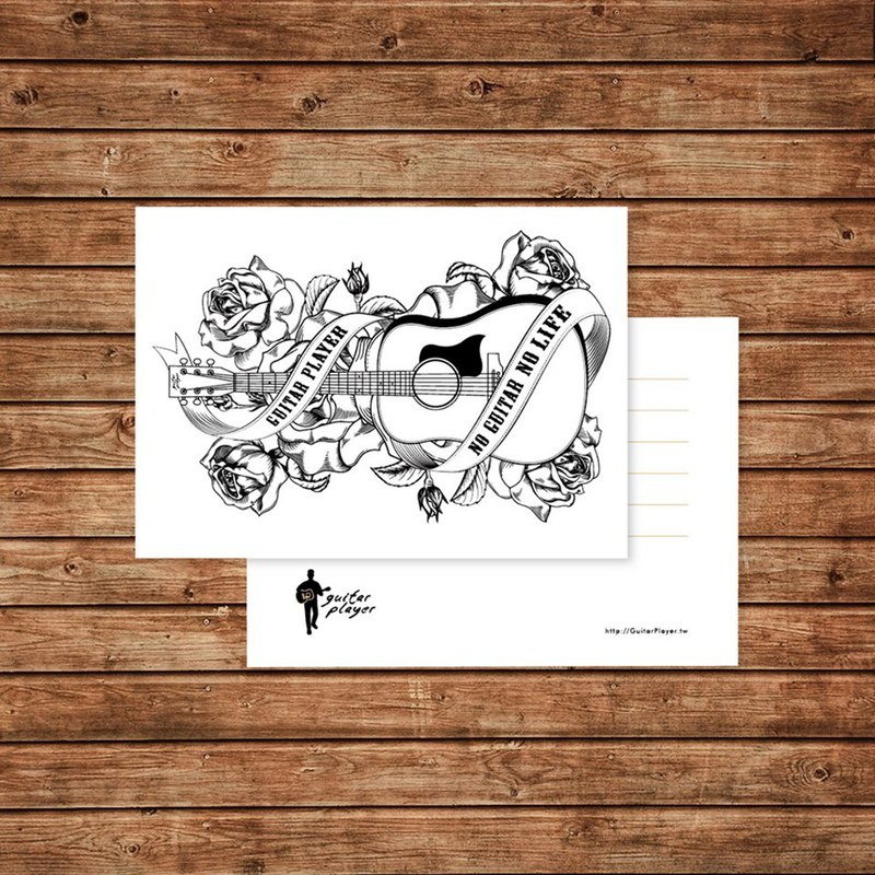 Guitar Player Guitar and Roses Postcard Music Card Gift