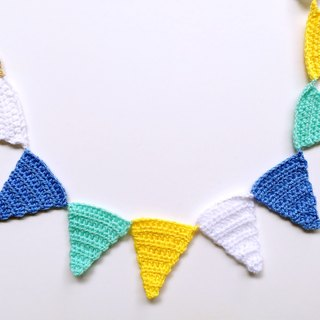 Handmade crochet triangle bunting lake color system