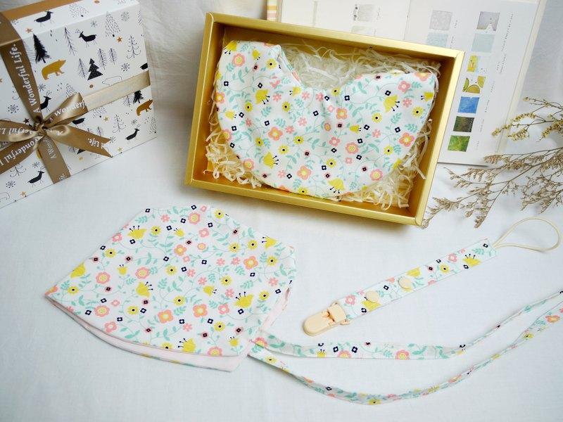 Value combination Miyue gift box │ six-layer gauze towel French baby hat pacifier chain ::: warm garden