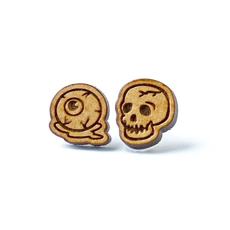 Plain wood earrings- eyeball & Skull