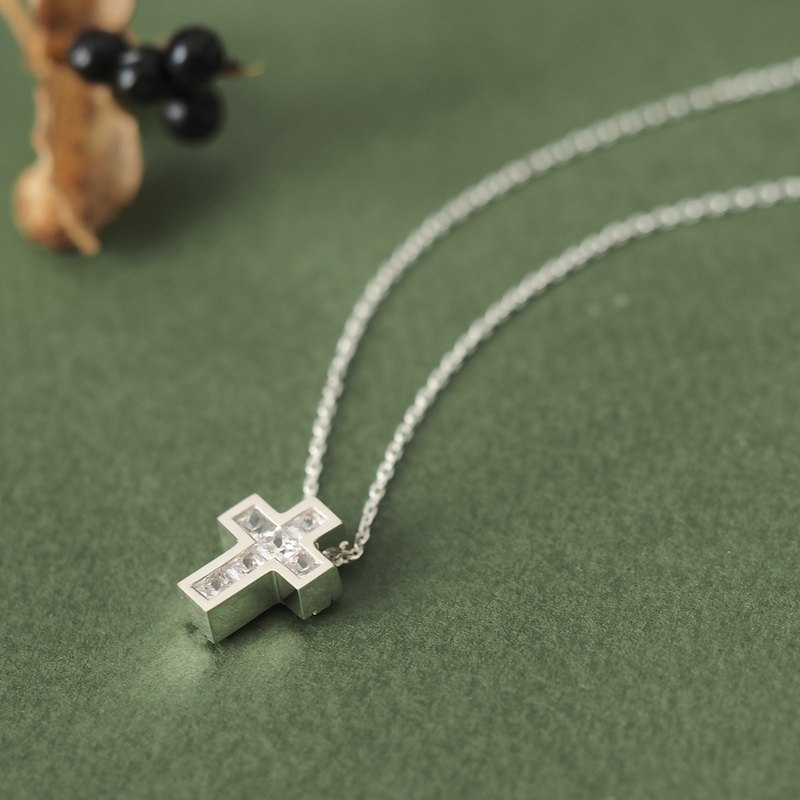 Cube stone Cross Men's Necklace 925 Silver