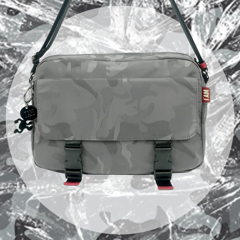 Free shipping I AM- side backpack - camouflage gray
