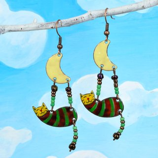 Green Cat Earrings, Enamel Cat Earrings, Cat And Moon, Striped Cat, Tabby Cat, Lucky Cat, Fortune Cat Earrings, Cat Jewelry, Striped Earrings,Moon,
