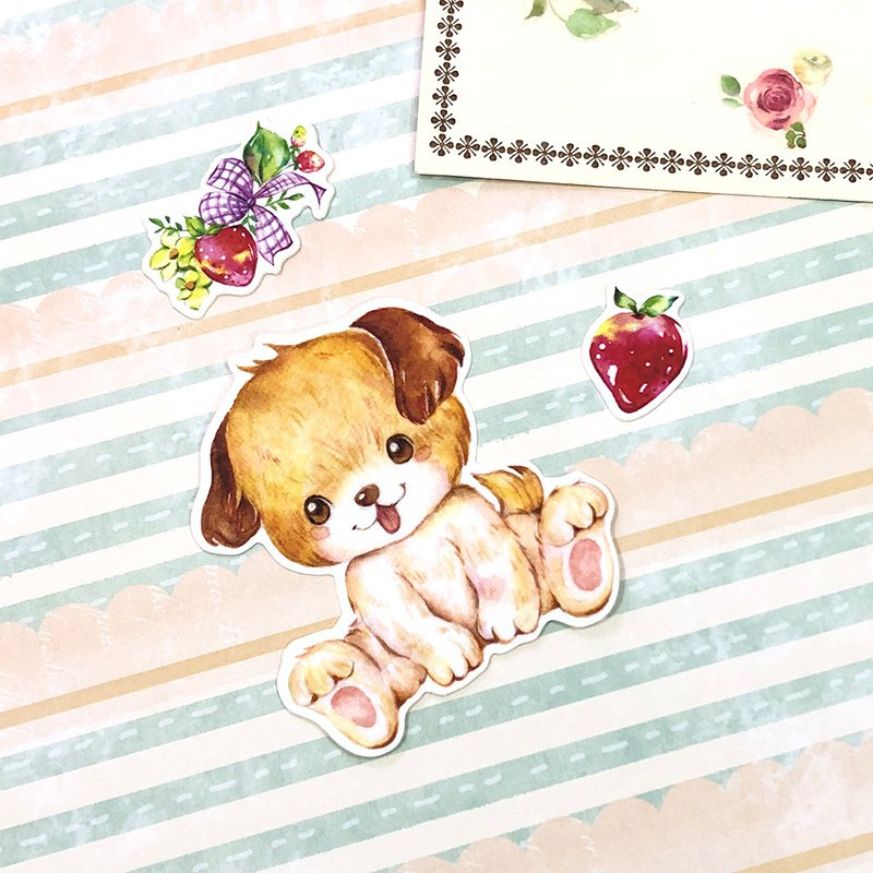 Little Animals Stickers - I Love Strawberry! Dog