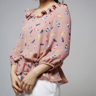 MIT Pink Feather Lotus Top (R5022A)