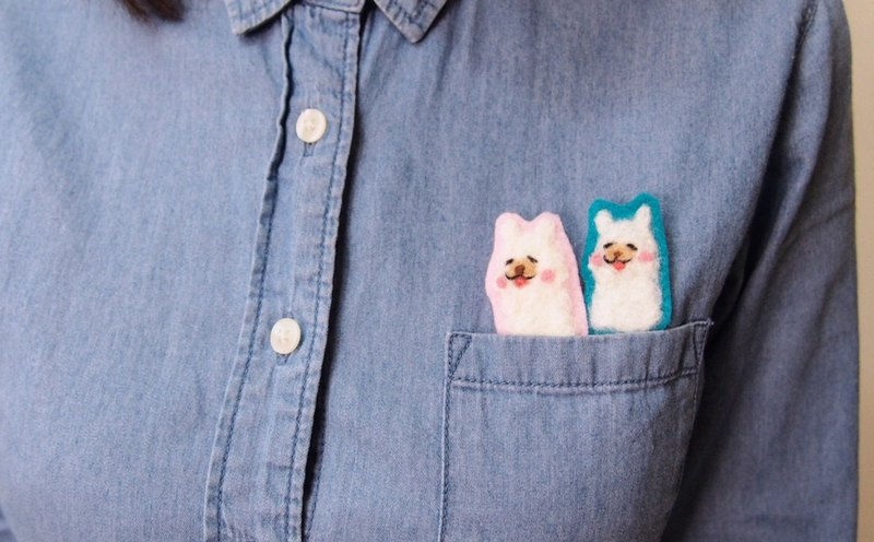 Alpaca wool felt embroidery pins