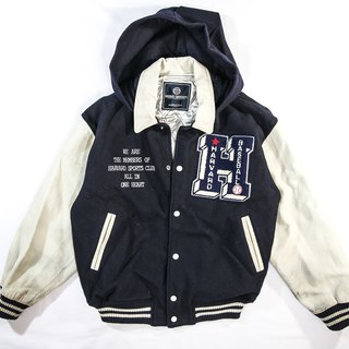 [3thclub Ming Ren Tang] Leather Sleeve Hooded Baseball Jacket 80'S retro style vintage BSE-009 Japan