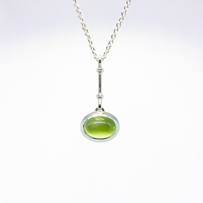 Custom sterling silver necklace - PREHNITE sterling silver pendant