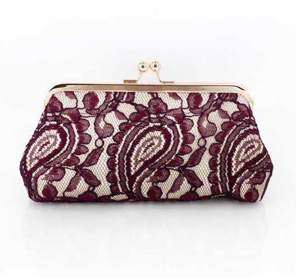Handmade Clutch Bag in Burgundy & Champagne | Gift for mom, bridal, bridesmaids | Alencon Paisley Lace