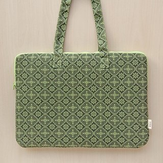 "15"" Laptop Case / Begonia Glass Pattern / Leaf Green"