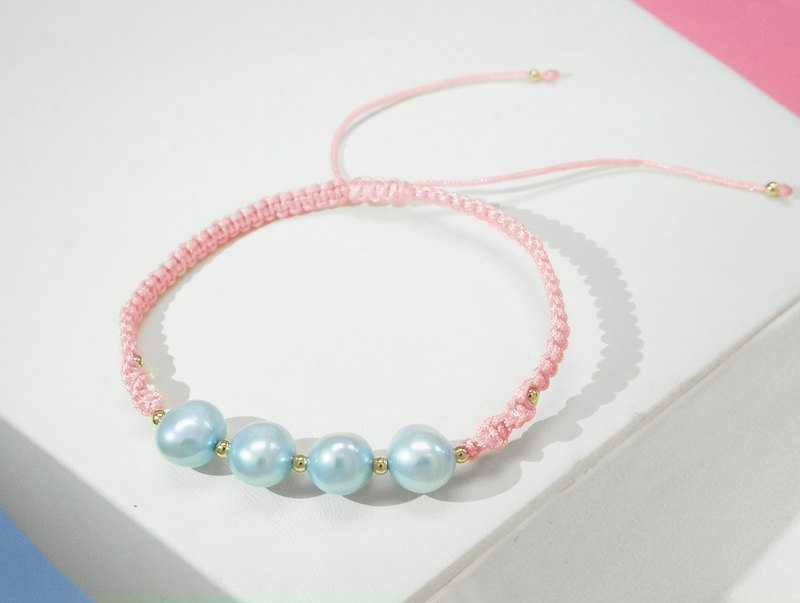 Baby Blue Freshwater Pearl with Pink Cord Bracelet