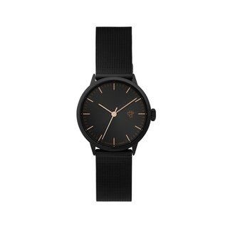 Swedish Brand - Nando Mini Black Rose Gold Dial - Black Milan with Adjustable Watch