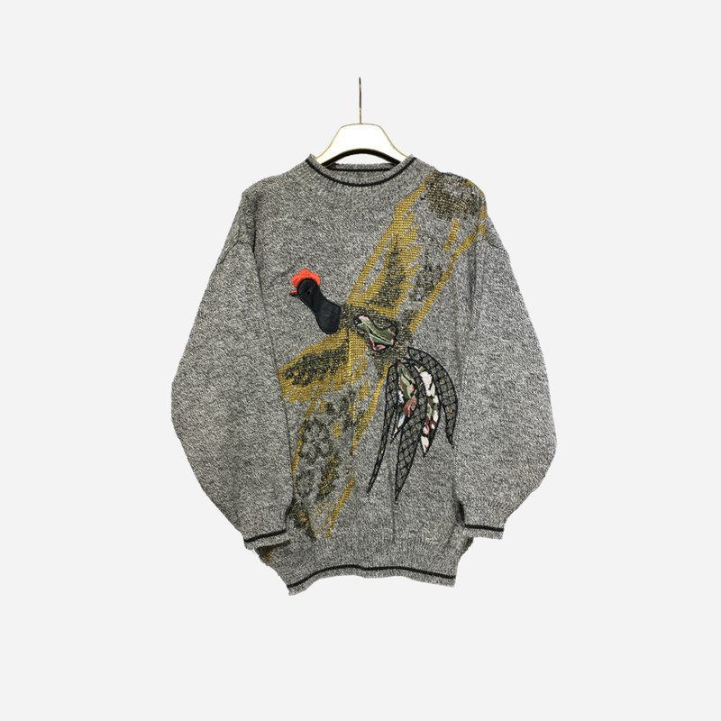 Dislocated vintage / embroidered bird knit sweater no.1230 vintage