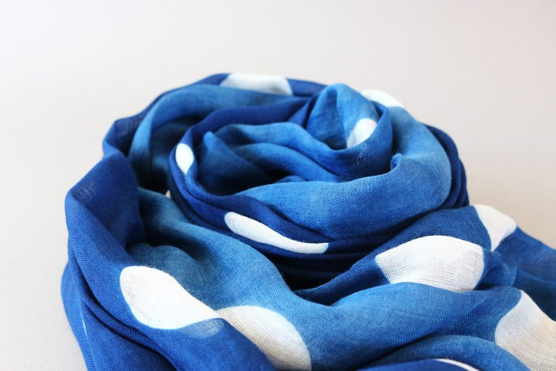 Blue dyed scarves - simple circle