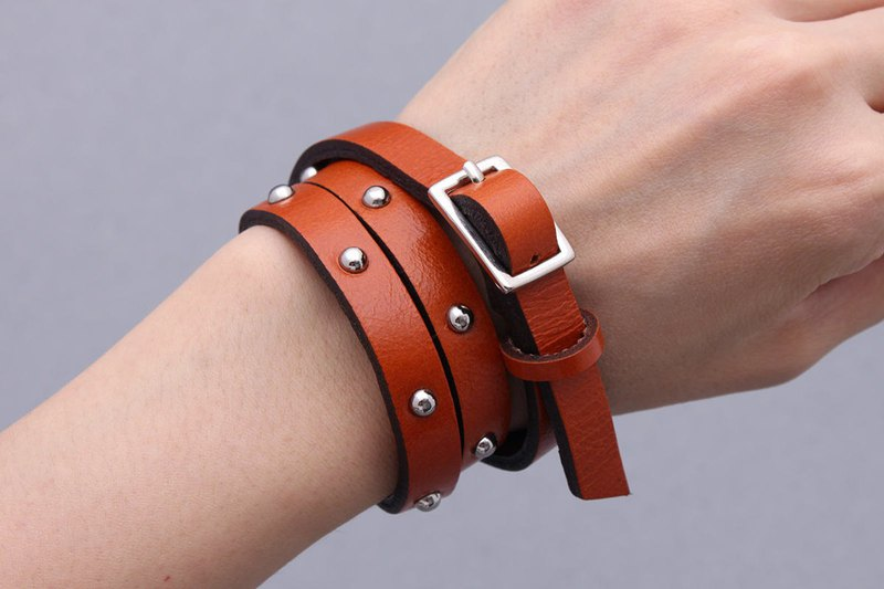 Leather Wrap Stud Bracelets Orange Brown Unisex Wrap Beads Cuff Bracelets