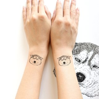 Siberian Husky Temporary Tattoo (Confuse face) 1 piece.
