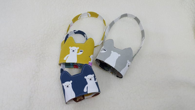 Waved polar bear / tricolor cat ears with eco-friendly drink cup sleeve bag / double-sided available