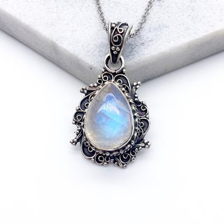 Moonstone Quartz Heavyweight Sterling Silver Necklace Necklace Made in Nepal - handmade inlay