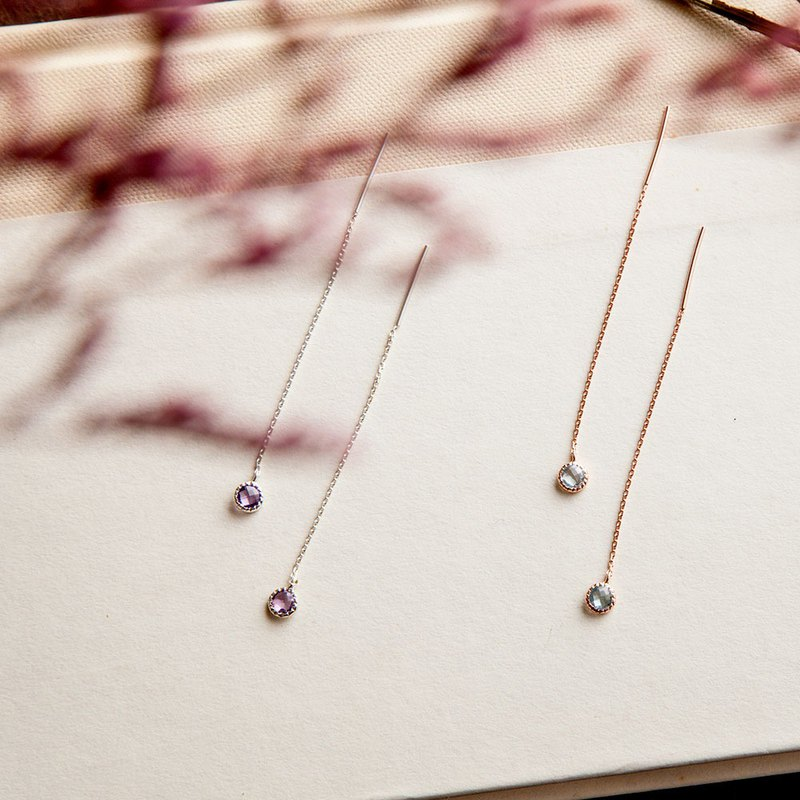 Amethyst small disc dangling earrings | natural stone | 925 sterling silver. Rose gold. Light jewelry