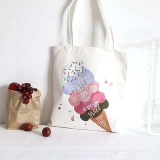 Color-Up hand-painted series - ice-cream printed shoulder bag