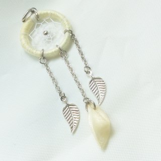 Yellow solidify ribbon flower petal dreamcatcher necklace