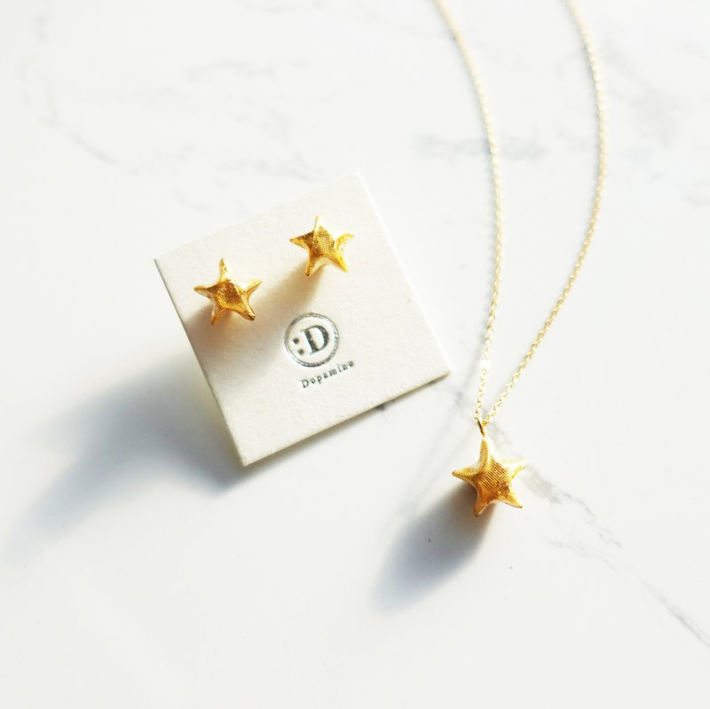 Origami Paper Star Stud Earrings | Necklace | Gold