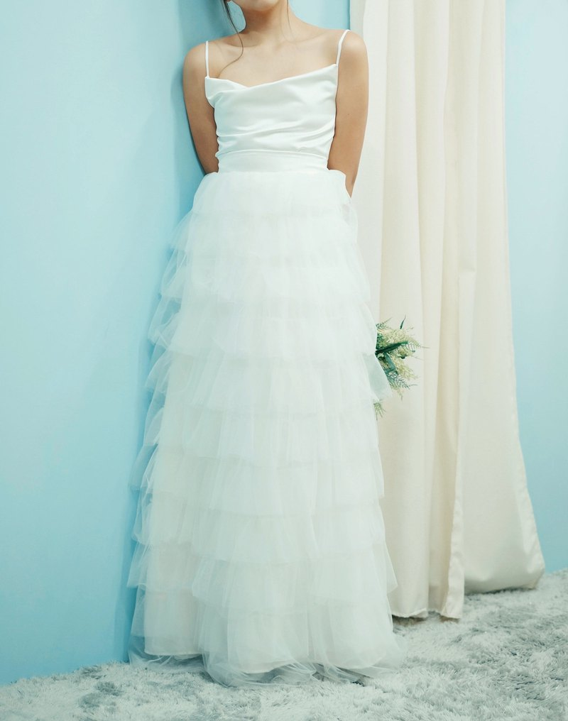 Love Philosophy Bridal Simple Wedding Dress - Soft Mesh Cake Skirt