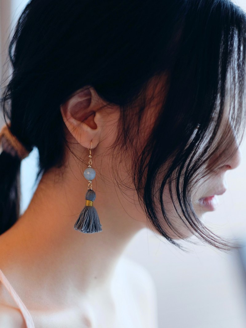 Aquamarine earrings/ Dainty simple grey tassel earrings