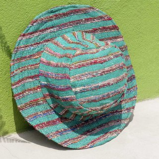 Chinese Valentine's Day gift limited a stitching hand-woven cotton and linen cap handmade sari line weaving cotton and linen hat / knit cap / fisherman hat / straw hat / straw hat / handmade hat / sun hat-green forest colorful rainbow striped cotton ha